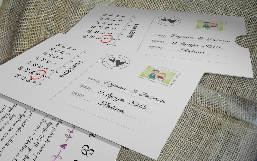 Pozivnica za vjenčanje 13×18 etui 09 dopisnica