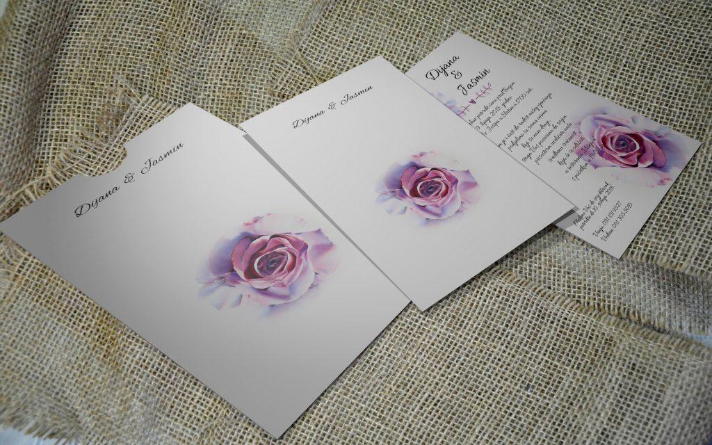 Pozivnica za vjenčanje 13×18 etui 10 ruža