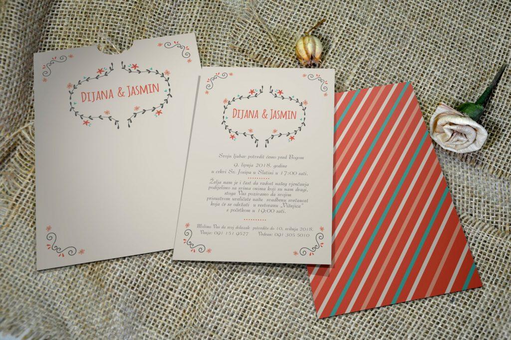 Pozivnica za vjenčanje 13×18 etui retro