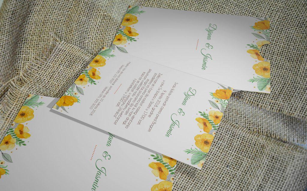 Pozivnica za vjenčanje 13×18 etui 07 žuto