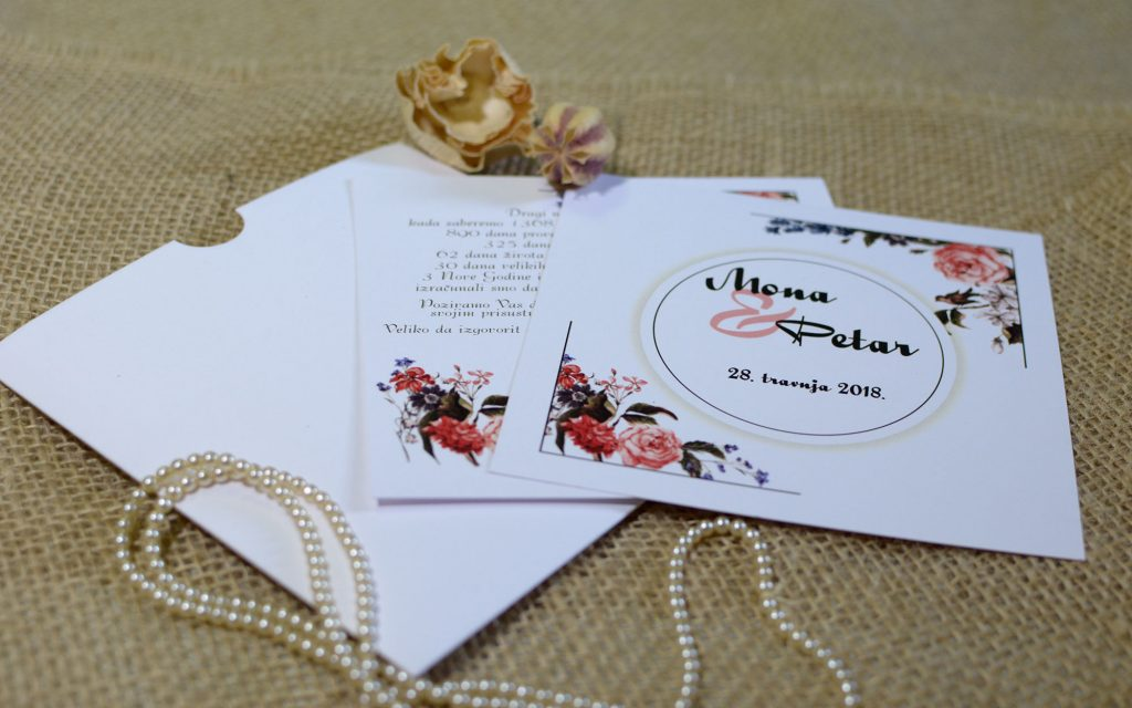 Pozivnica za vjenčanje 14×14 etui ruže