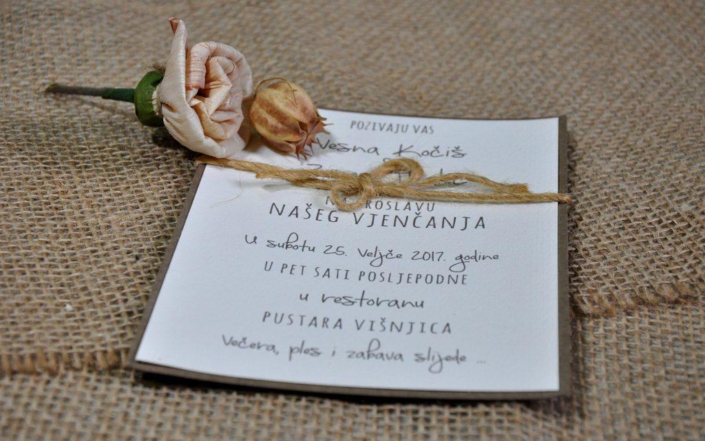 Pozivnica za vjenčanje 13×18 akvarel karton