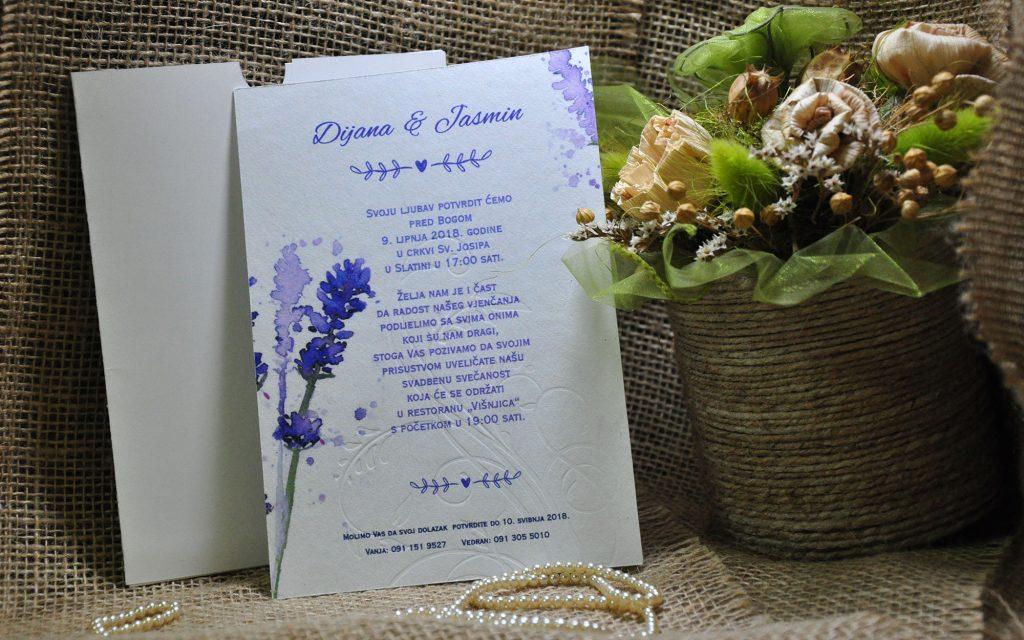Pozivnica za vjenčanje 13×18 lavanda coton