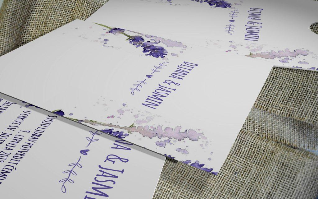 Pozivnica za vjenčanje 13×18 etui lavanda