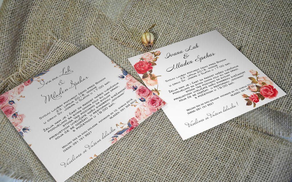 Pozivnica za vjenčanje 14×14 etui ruže 2