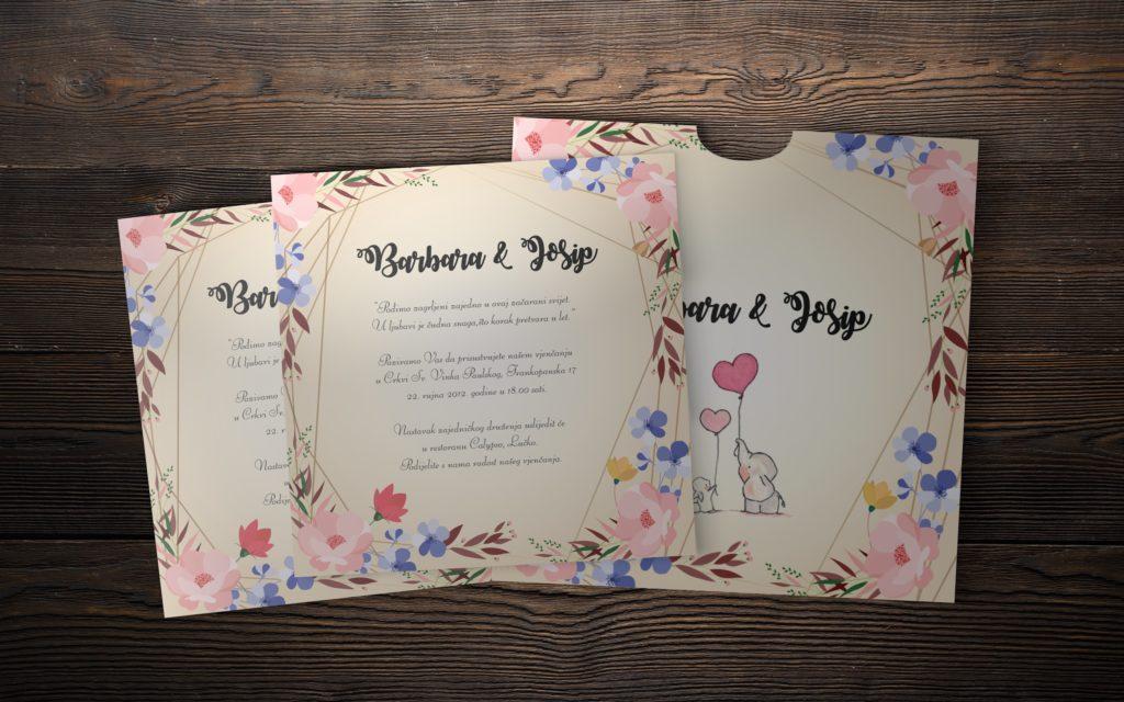Pozivnica za vjenčanje 14×14 etui M16