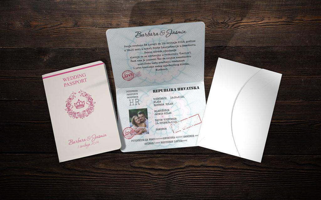 Pozivnica za vjenčanje 13×18 putovnica M18